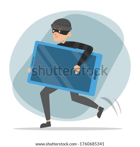 Thief running with a stolen mobile phone vector isolated. Male criminal in black clothes and mask is happy. Idea of security and data safety in danger. Foto stock ©
