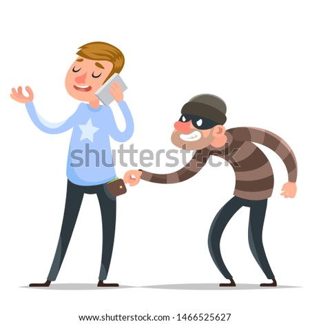 Thief steals purse from hapless guy character icon cartoon warning template design vector illustration Stockfoto ©