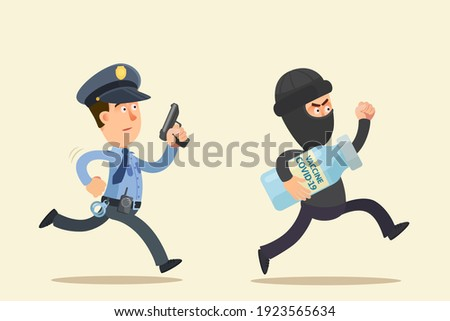 Thief stole a coronavirus vaccine from a laboratory, he runs away and is chased by a police officer. Security catches a thief with vial of COVID-19 vaccine. Vector illustration, flat design cartoon. Foto stock ©