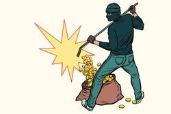 thief with bag of money. Pop art retro vector illustration