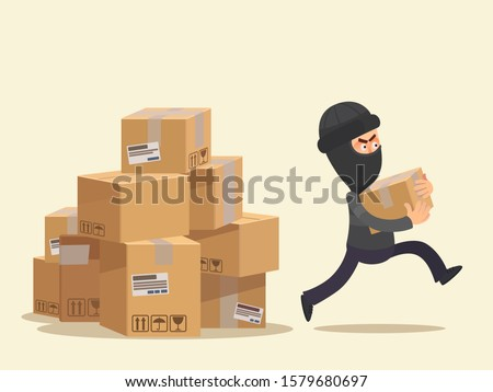Thief worker steals parcels in post office. Theft at post office, mail warehouse. Masked man in black suit stole package, cardboard parcel. Vector illustration flat design cartoon style, isolated.
