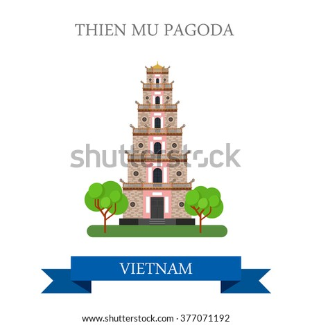 Thien Mu Pagoda in Vietnam. Flat cartoon style historic sight showplace attraction web site vector illustration. World countries cities vacation travel sightseeing Asia collection.
