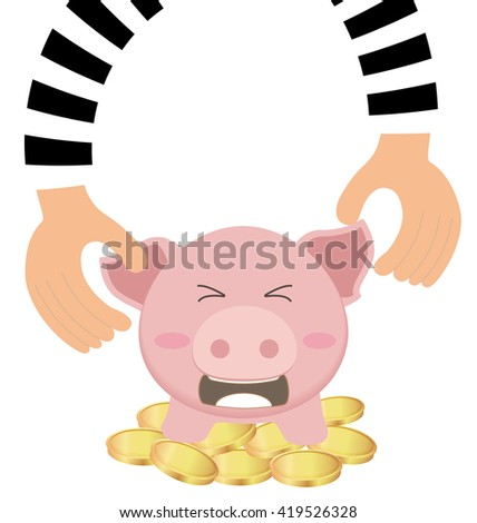 Thieves Hand Stealing Money Coin From Piggy Bank, Saving Concept Сток-фото ©