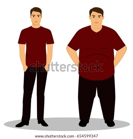 Thin and fat. Obesity. From thin to fat. Boy getting fat, gaining weight. Isolated objects. Vector illustration.