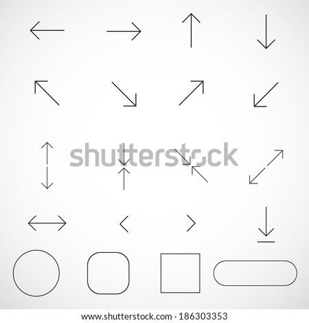 Thin arrows vector for design. Vector  illustration