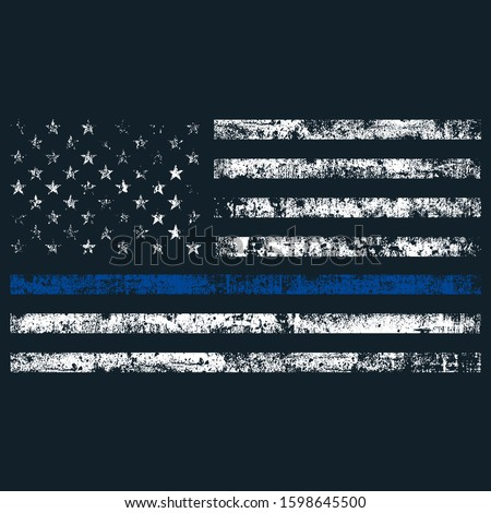 Thin Blue Line American Police, USA Law Enforcement Symbol, Grunge Design Flag.