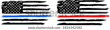 Thin blue line and  Firefighter Flag  - Distressed American flag.