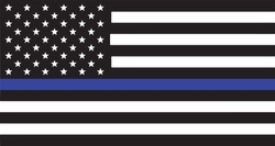 Thin Blue Line Police Support Vector Silhouette