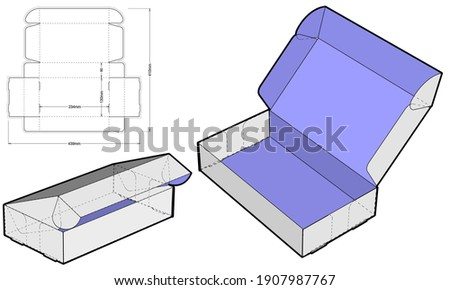 Thin cardboard box for sending mail. Highly recommended for technological and electronic products. Ease of assembly, no need for glue (Internal measurement 23x13x5 cm) and Die-cut Pattern Photo stock ©