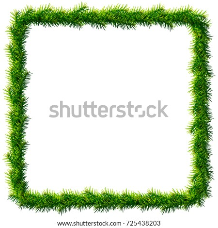 Thin christmas square wreath without decoration. Rectangle frame of pine branches isolated on white. Vector image for new years day, christmas, winter holiday, decoration, new years eve, design, etc