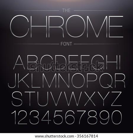 Thin Chrome Font. Vector Metallic Alphabet