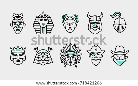 thin flat line modern icons set of heroes people, various head avatars of male power historical characters Stockfoto ©