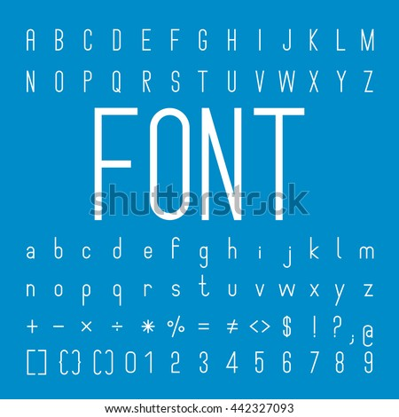Thin Font family and Alphabet Vector Font Design