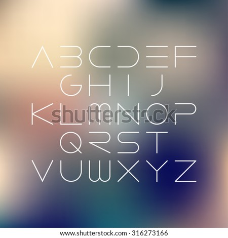 Thin font. Futuristic font. Cosmic Font. Vector alphabet set. Elegant light font. Minimal. Latin alphabet letters on a blurred vintage background. Hipster font, typeface, typography, typewriter.