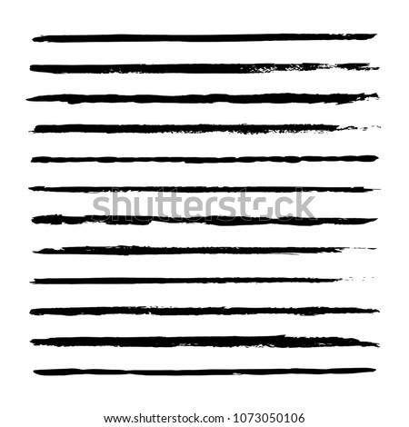 Thin hand drawn vector lines. Set of black strokes. Ink brush drawing. Isolated