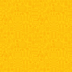 Thin Holiday Line Oktoberfest Yellow Seamless Pattern. Vector German Beer Party Design and Seamless Background in Trendy Modern Line Style. Thin Outline Art