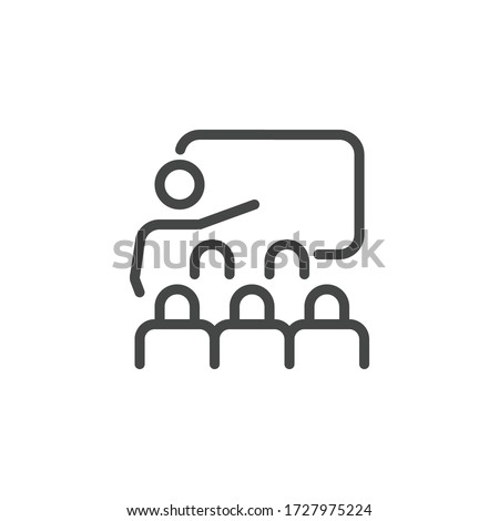 Thin Icon Training, Business Presentation and Seminar or Coaching. Such Line Sign as Classroom and Trainer. Custom Vector Pictogram EPS 10 for Web in Outline Style on White Background Editable Stroke. Foto stock ©