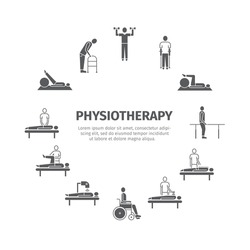 Thin icons for physiotherapy, rehabilitation center. Physical exercise, gymnastics, massage, laser therapy, acupuncture. Design of web graphics.