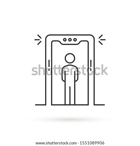 thin line airport security scanner icon. flat lineart style trend modern x-ray machine logotype graphic art design isolated on white background. concept of human xray scan and terminal gate secure