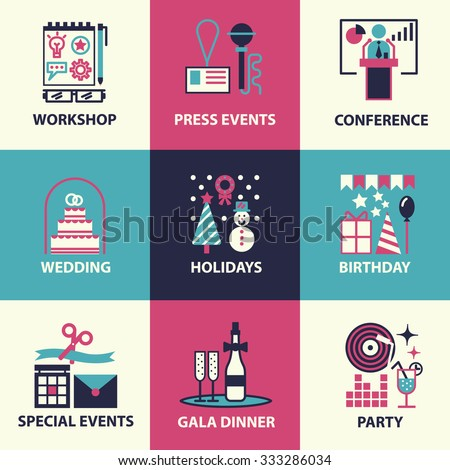 Thin line and flat icons of events and special occasions organization, catering service agency, marketing agency. Flat design graphic event marketing concept, website elements.