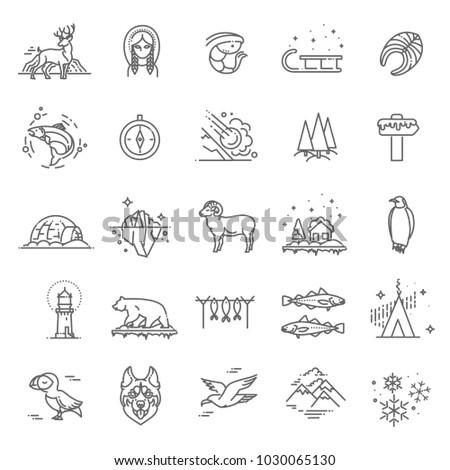 thin line arctic icons set
