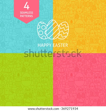 thin line art happy easter