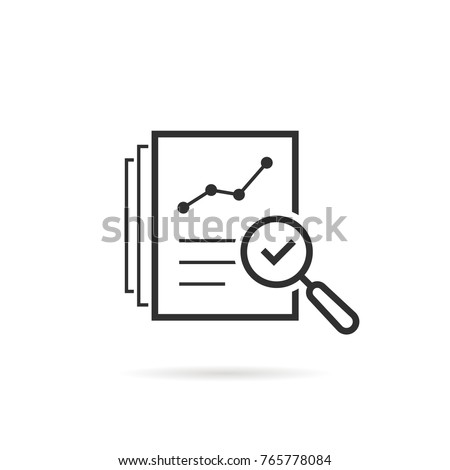 thin line assess icon like review audit risk. linear flat trend quality logotype graphic art design isolated on white background. concept of find internal vulnerable bill or data research and survey