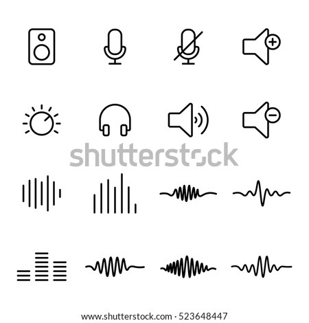 thin line audio icons on white background