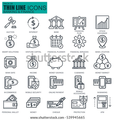 Thin line banking and finance icons set for website and mobile site and apps. Pixel Perfect. Editable Stroke. Simple linear pictogram pack. Vector illustration.