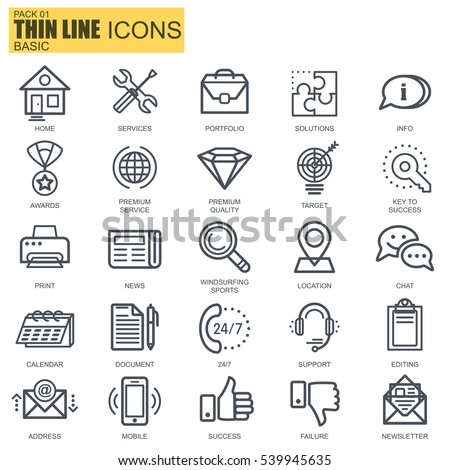 Thin line basic icons set for website and mobile site and apps. Pixel Perfect. Editable Stroke. Simple linear pictogram pack. Vector illustration.