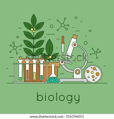 Thin line biology laboratory workspace and science equipment concept. Flat design vector illustration.