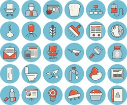 Thin line blue tinted icon set - wheelbarrow flat vector, paint roller, toilet, calculator, putty knife, legumes, onion, bread, cupcake, thermometer, water tap, tree leaf, earth, lamp, person, cash