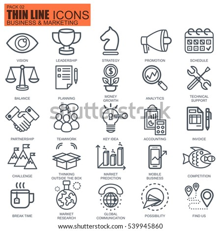Thin line business and marketing icons set for website and mobile site and apps. Pixel Perfect. Editable Stroke. Simple linear pictogram pack. Vector illustration.
