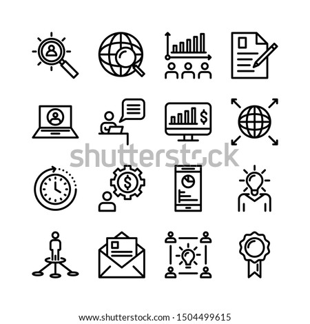 Thin Line Business Icon Set