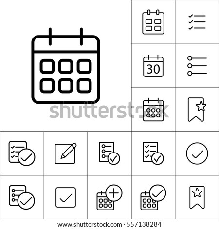 thin line calendar icon on white background, schedule planning set