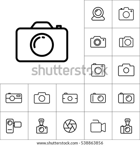 thin line camera icon on white background