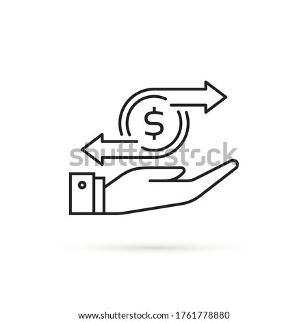 thin line cashflow or money transfer icon. concept of recurring payment and subscription or instant p2p currency swap. stroke black coin logotype graphic linear design illustration isolated on white