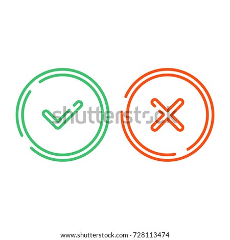 Thin line check mark icons set isolated on white background. Green tick and red cross checkmarks buttons in flat style. Yes or No / confirm or reject signs. Vector illustration EPS 10.