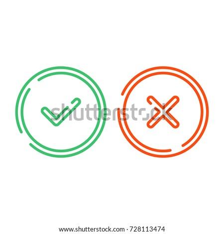 thin line check mark icons set