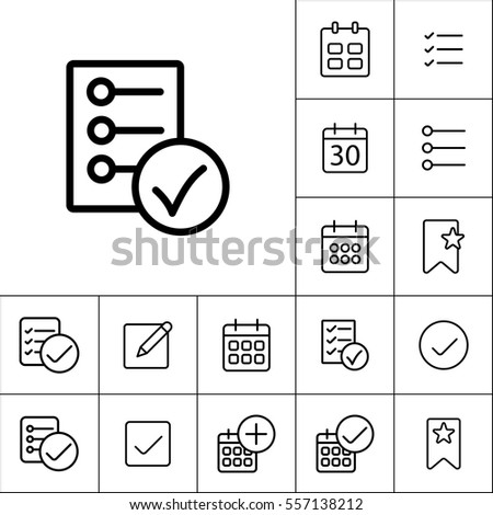 thin line checklist, report icon on white background, schedule planning set