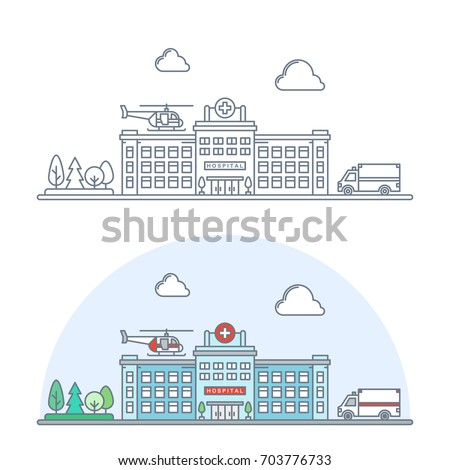 thin line city hospital building exterior. linear medical center with ambulance car and helicopter. healthcare banner. flat outline style. isolated on white background. vector illustration