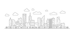 Thin line City landscape. Downtown landscape with high skyscrapers. Panorama architecture buildings Isolate. Urban life Vector illustration.