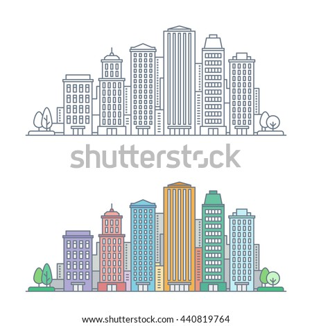 thin line cityscape business