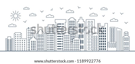 thin line cityscape. Urban landscape with business buildings. Vector illustration of modern city buildings. Thin line design elements of city scape.