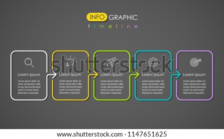 Thin line colorful Infographic design template on a dark background with icons and 5 options or steps.  Can be used for process diagram, presentations, workflow layout, banner, flow chart, info graph.