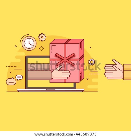 Thin line colorful vector illustration concept for gift delivery service, e-commerce, online shopping, receiving package from courier to customer isolated on bright background
