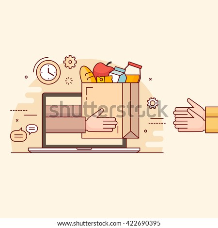 Thin line colorful vector illustration concept for online ordering of food.
