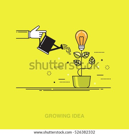 Thin line colorful vector illustration of a hand watering light bulb, concept for creative innovative work, investing into ideas, growing business, innovation isolated on bright background