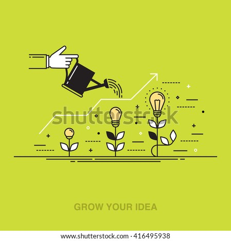 Thin line colorful vector illustration of a hand watering light bulbs, concept for creative innovative work, investing into ideas, growing business, innovation isolated on bright background