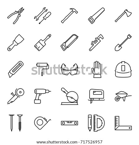 Thin line Construction tools icons set Stroke Editable